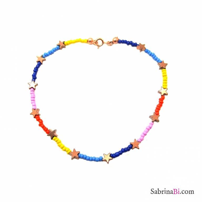 Cavigliera micro perline vetro multicolor e stelle bronzo