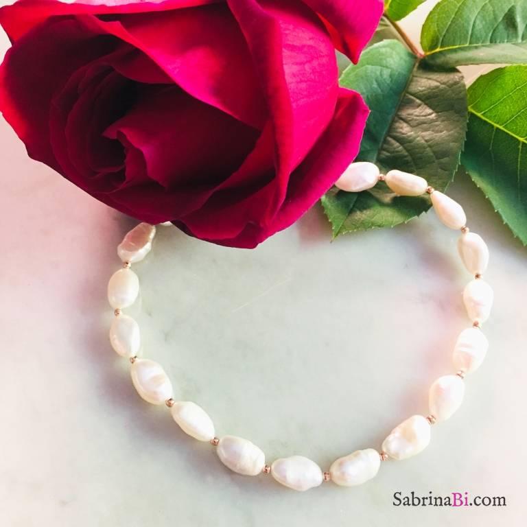 Cavigliera perle barocche