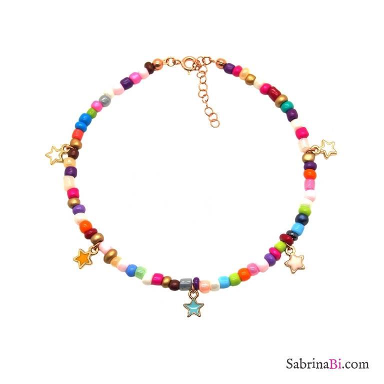 Cavigliera perle di vetro multicolor e stelline