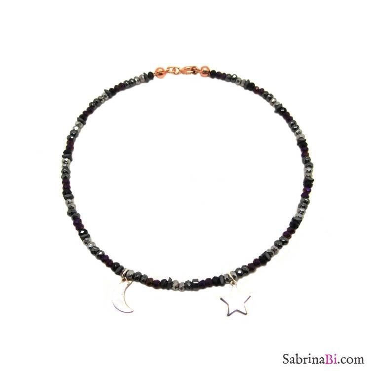 Cavigliera perline vetro nere Luna Stella argento 925