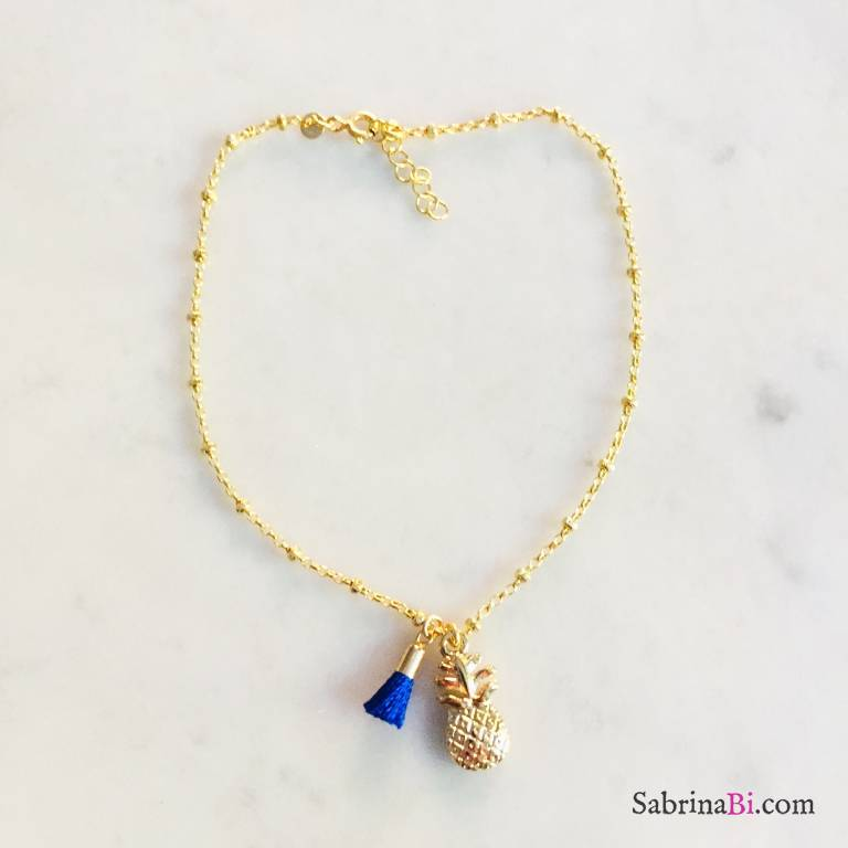 Cavigliera rosario argento 925 oro giallo Ananas