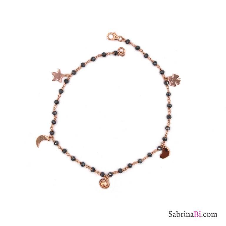 Cavigliera rosario argento 925 oro rosa cristalli grigi e 5 charms