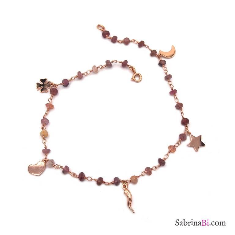 Cavigliera rosario argento 925 oro rosa pietre dure rosa e 5 charms