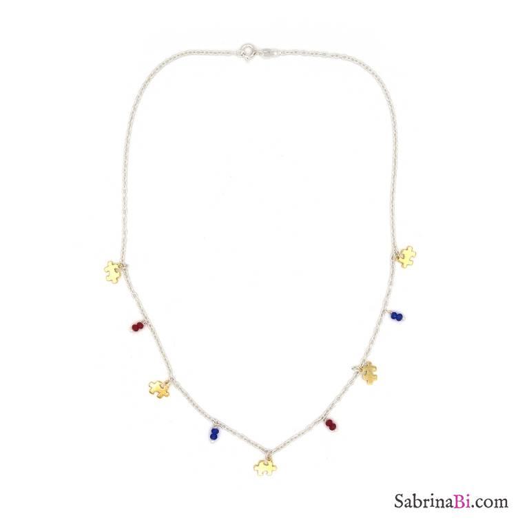 Collana argento 925 bicolore ciondoli puzzle oro e perline