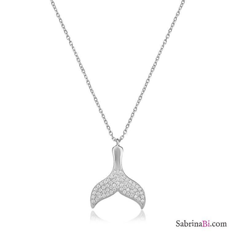Collana argento 925 Coda Sirena brillanti