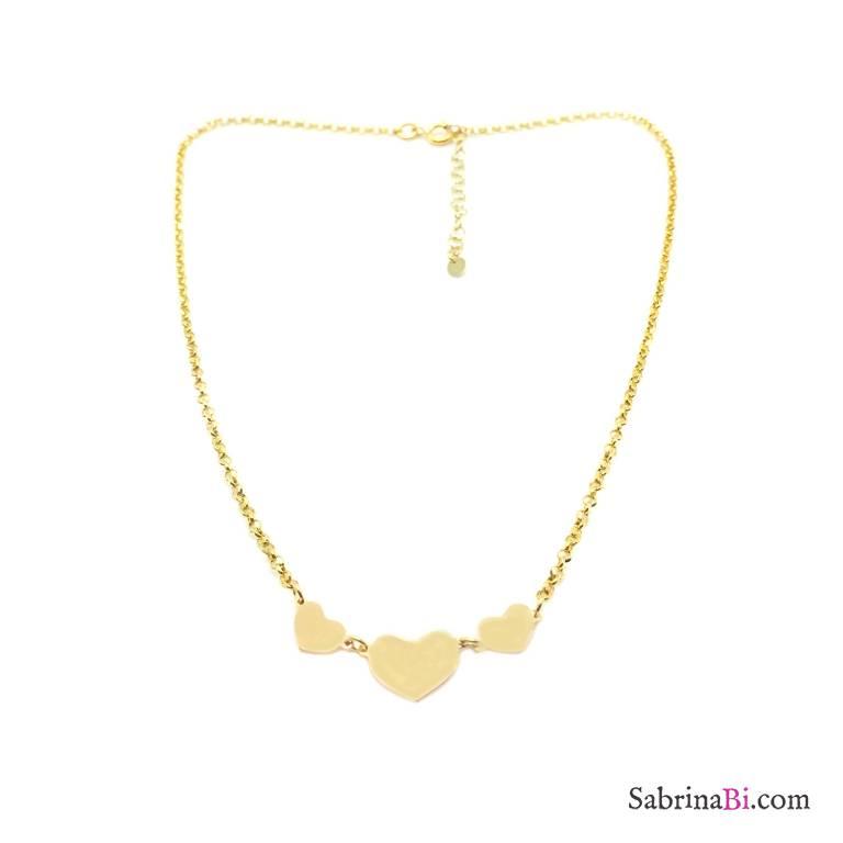 Collana argento 925 oro giallo 3 Cuori