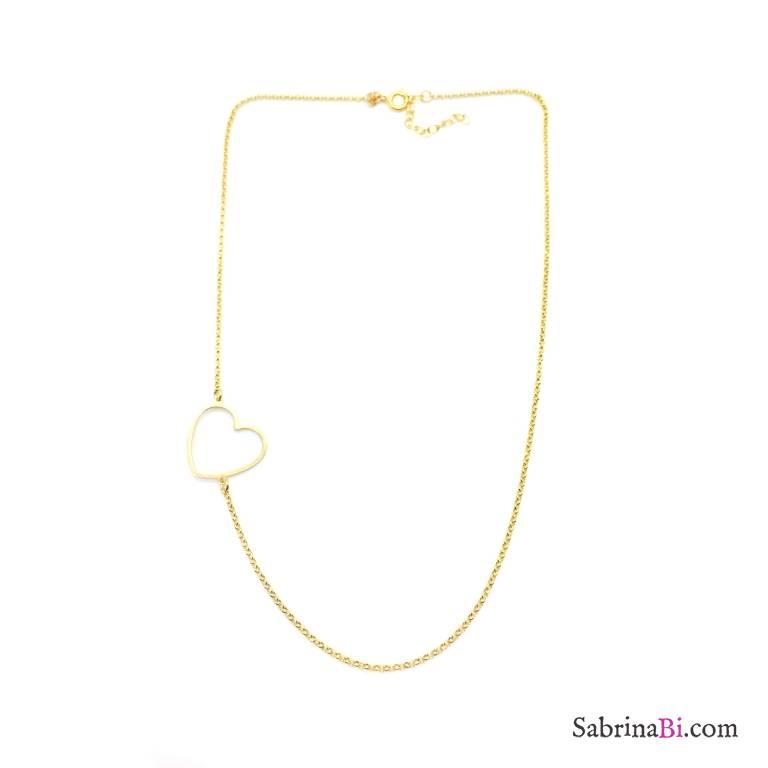 Collana argento 925 oro giallo cuore laterale