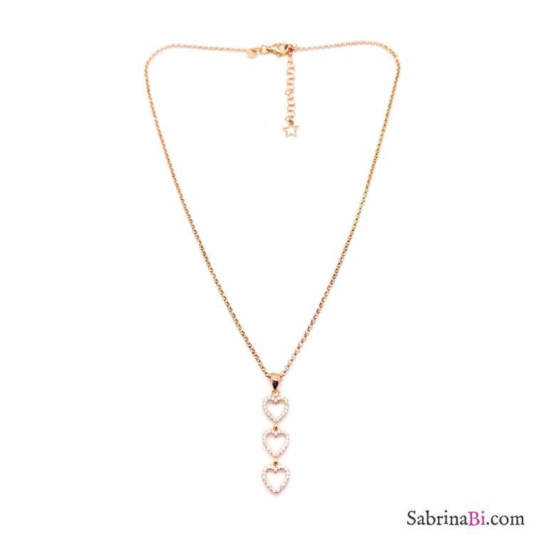 Collana argento 925 oro rosa 3 Cuori Zirconi
