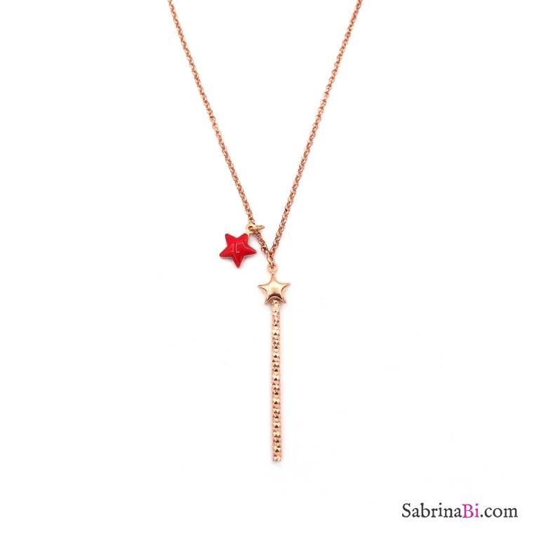 Collana argento 925 oro rosa bacchetta magica e stella rossa
