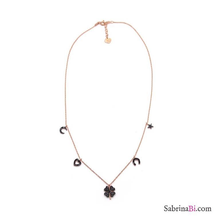 Collana argento 925 oro rosa ciondoli Lucky Charms Zirconi neri