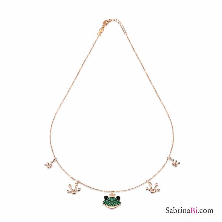 Collana argento 925 oro rosa ciondoli Principe Ranocchio brillanti verdi