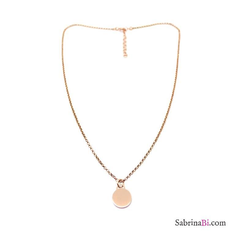 Collana argento 925 oro rosa con disco piccolo Mamma e Figlia