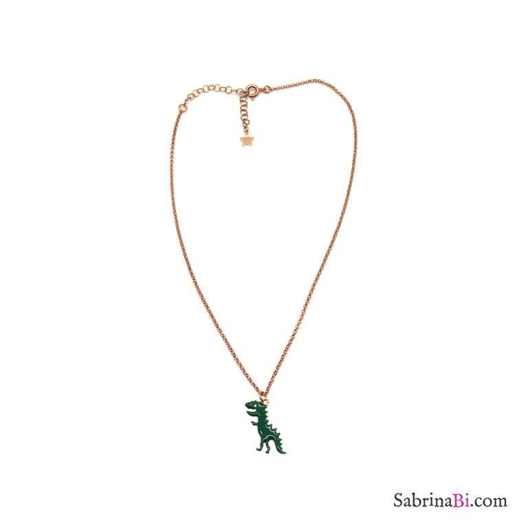 Collana argento 925 oro rosa Dinosauro smalto verde