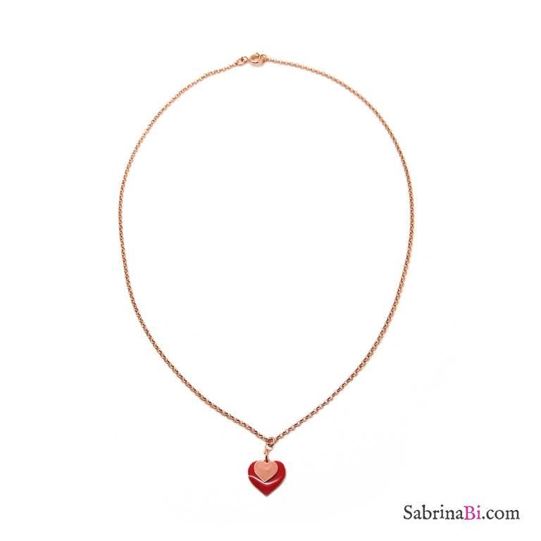 Collana argento 925 oro rosa Doppio Cuore