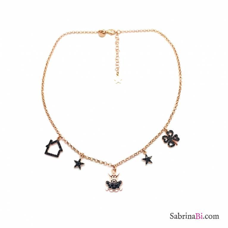 Collana argento 925 oro rosa e charms Principe Ranocchio Zirconi neri