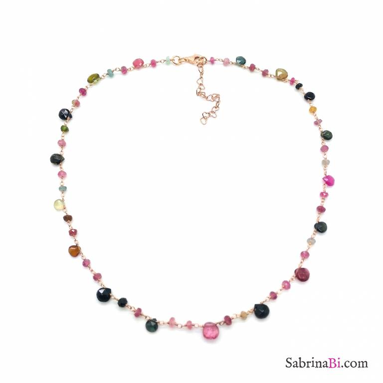 Collana argento 925 oro rosa Gaia
