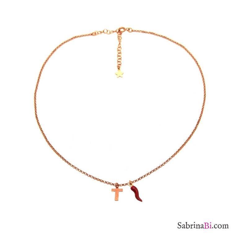 Collana argento 925 oro rosa lettera iniziale nome e cornetto rosso scuro