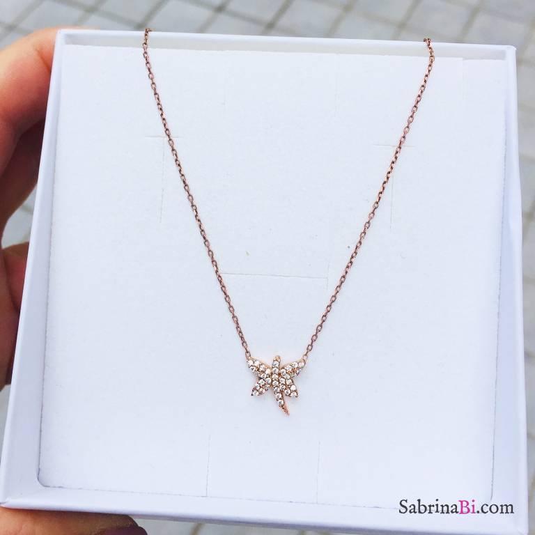Collana argento 925 oro rosa Libellula