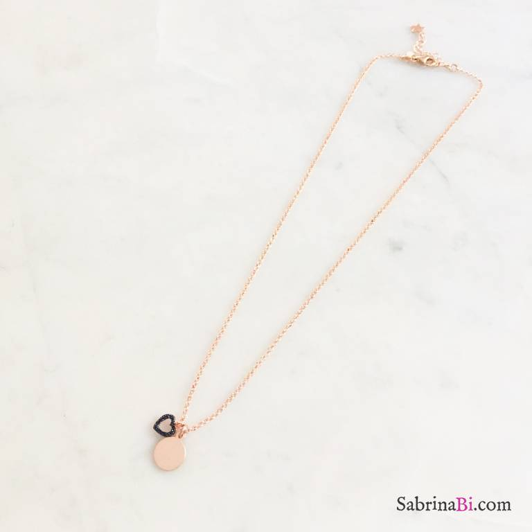 Collana argento 925 oro rosa mini disco incidibile e cuore vuoto Zirconi neri