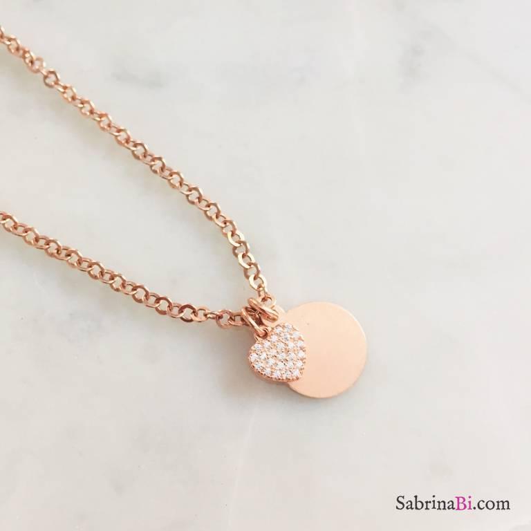 Collana argento 925 oro rosa mini disco incidibile e cuore Zirconi