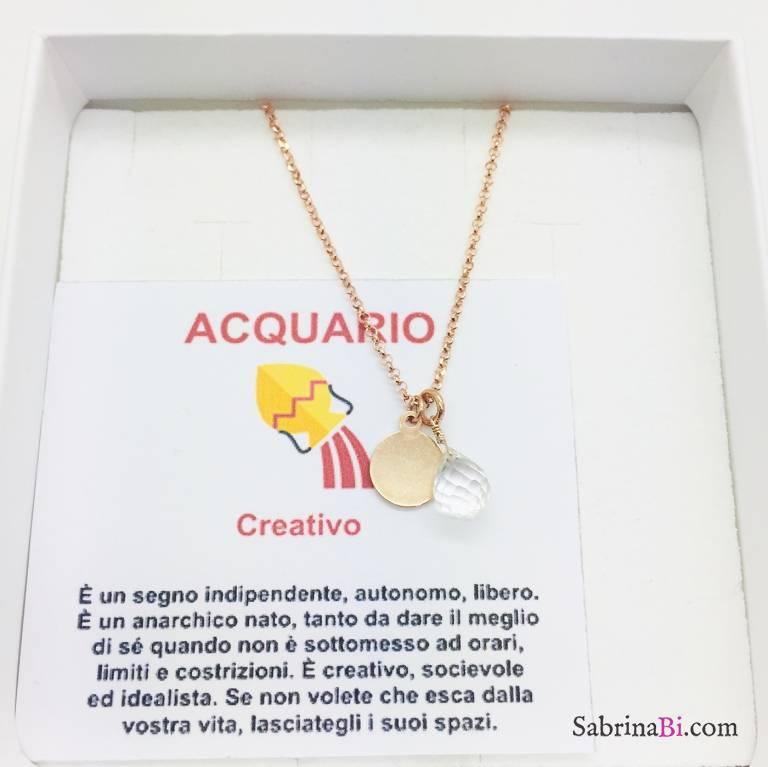 Collana argento 925 oro rosa personalizzata segno zodiacale Acquario e pietra Cristallo di rocca