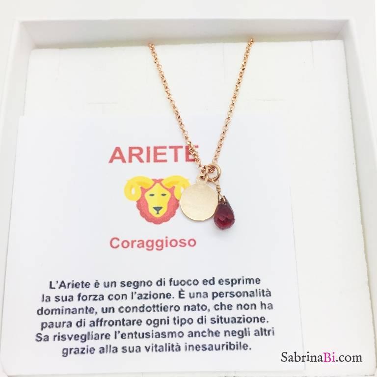 Collana argento 925 oro rosa personalizzata segno zodiacale Ariete e pietra Granato