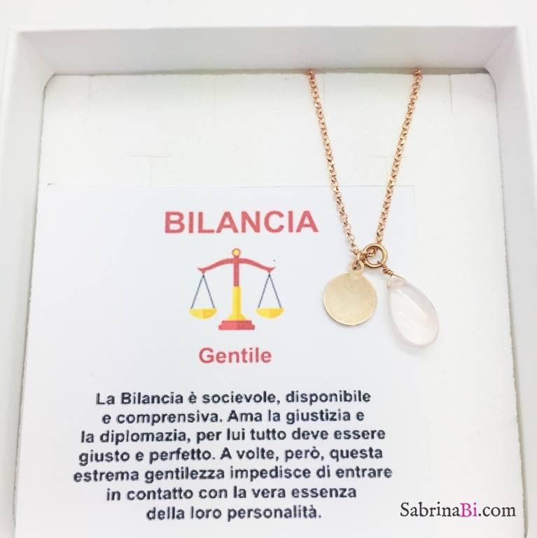 Collana argento 925 oro rosa personalizzata segno zodiacale Bilancia e pietra Quarzo rosa