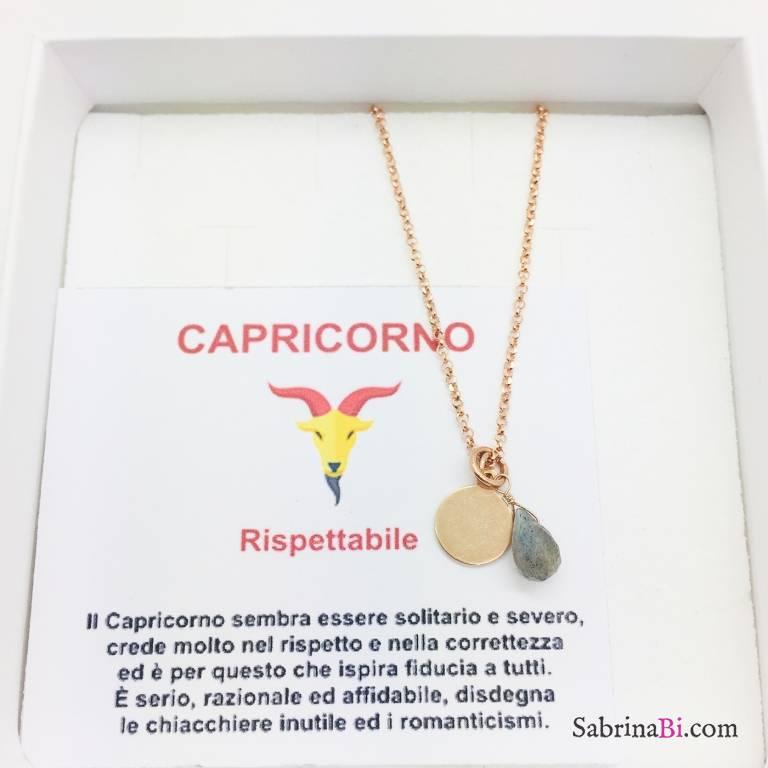 Collana argento 925 oro rosa personalizzata segno zodiacale Capricorno e pietra Labradorite