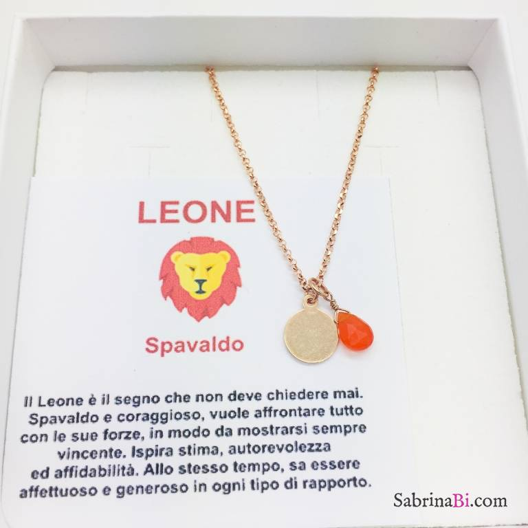 Collana argento 925 oro rosa personalizzata segno zodiacale Leone e pietra Corniola