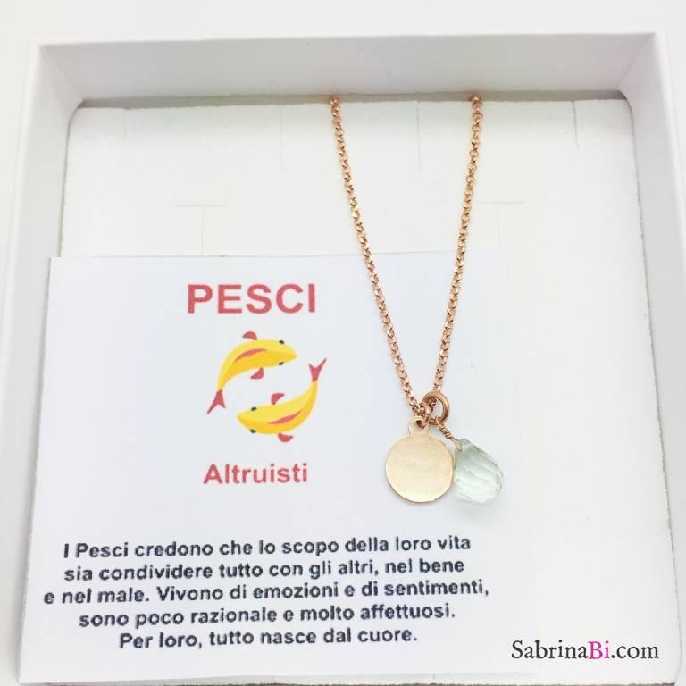 Collana argento 925 oro rosa personalizzata segno zodiacale Pesci e pietra Kunzite