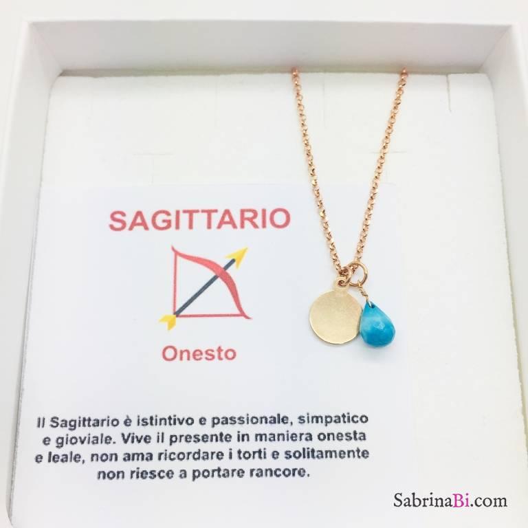 Collana argento 925 oro rosa personalizzata segno zodiacale Sagittario e pietra Turchese