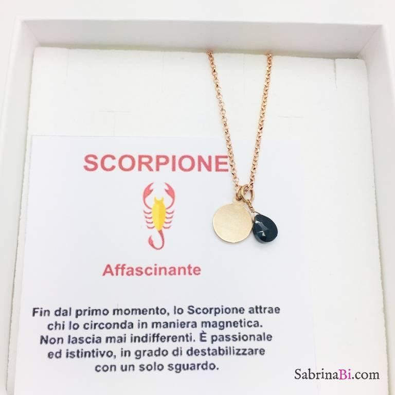 Collana argento 925 oro rosa personalizzata segno zodiacale Scorpione e pietra Tormalina