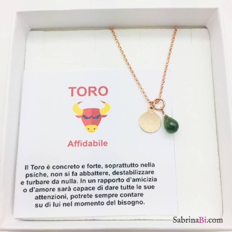 Collana argento 925 oro rosa personalizzata segno zodiacale Toro e pietra Avventurina