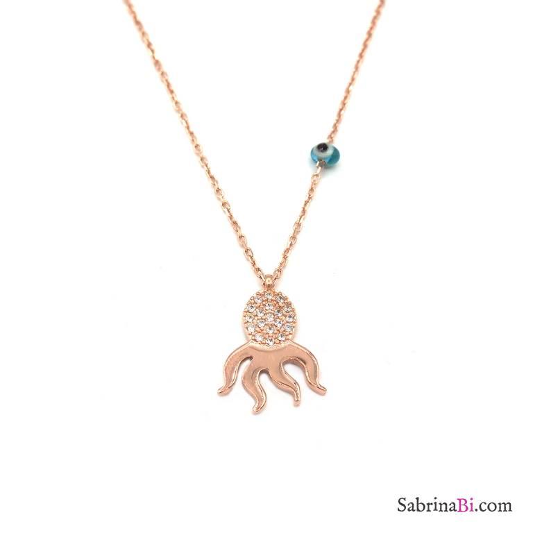 Collana argento 925 oro rosa Polpo brillanti