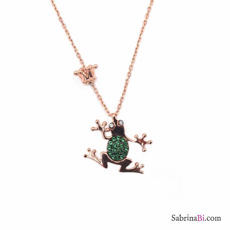 Collana argento 925 oro rosa Principe Ranocchio brillanti verdi e corona