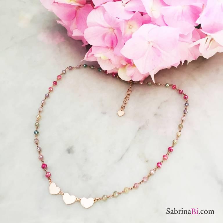 Collana argento 925 oro rosa rosario cristalli multicolor 3 Cuori