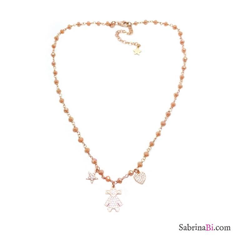Collana argento 925 oro rosa rosario Opale rosa Bebè Girl Zirconi