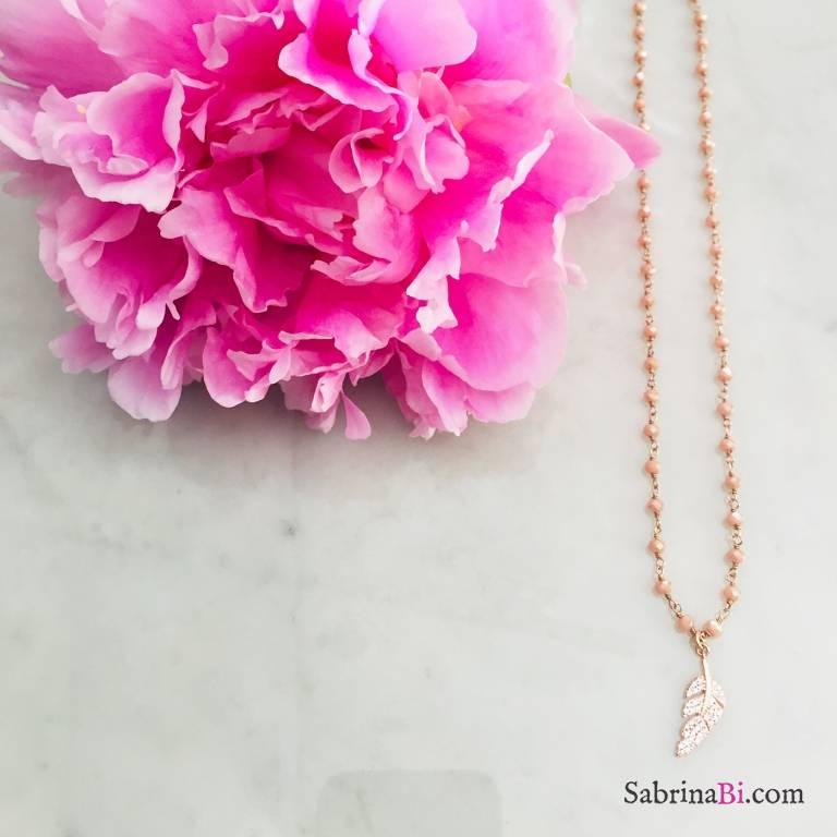 Collana argento 925 oro rosa rosario Opale rosa Piuma Zirconi