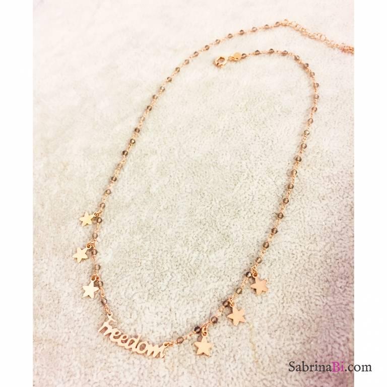Collana argento 925 oro rosa rosario Opale verde Freedom e stelle