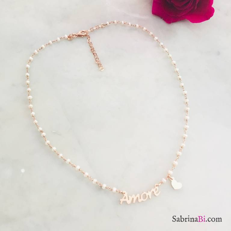 Collana argento 925 oro rosa rosario perle bianche Amore e cuore