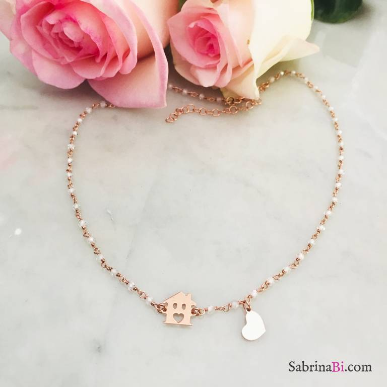 Collana argento 925 oro rosa rosario Pietra di luna Casetta