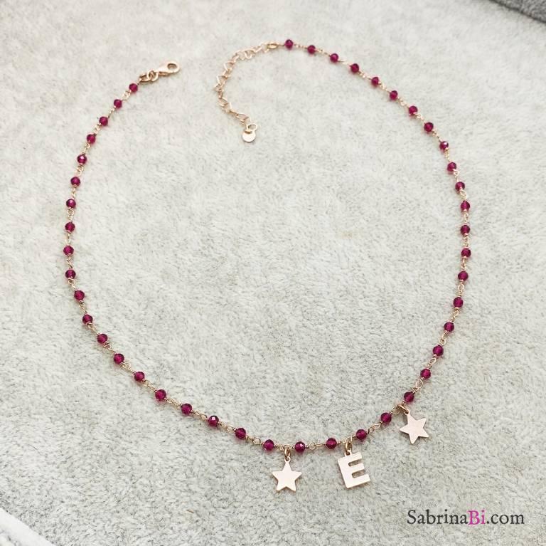 Collana argento 925 oro rosa rosario Rubino lettera e charms