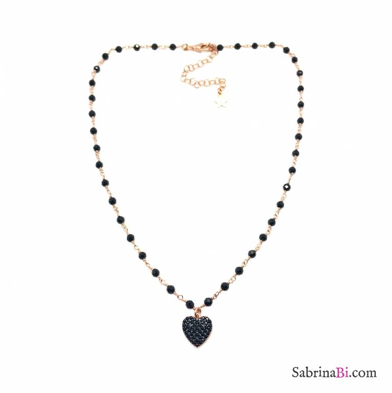 Collana argento 925 oro rosa rosario Spinelli neri Cuore Zirconi neri pendente
