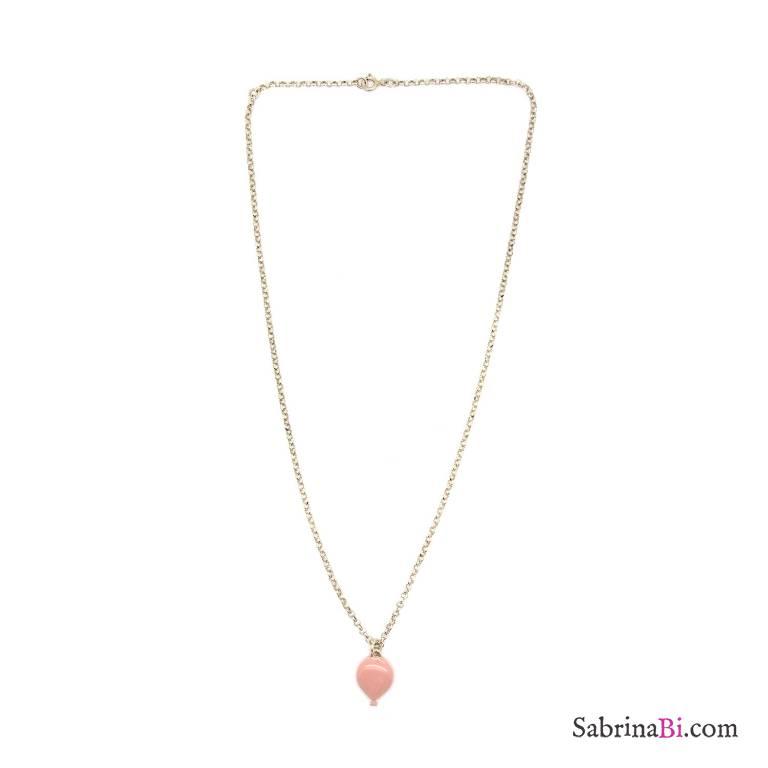 Collana argento 925 palloncino smalto rosa