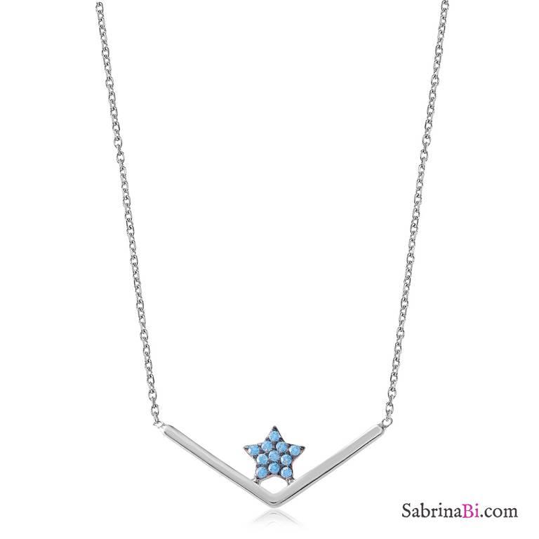Collana argento 925 piccola Stella brillanti azzurri
