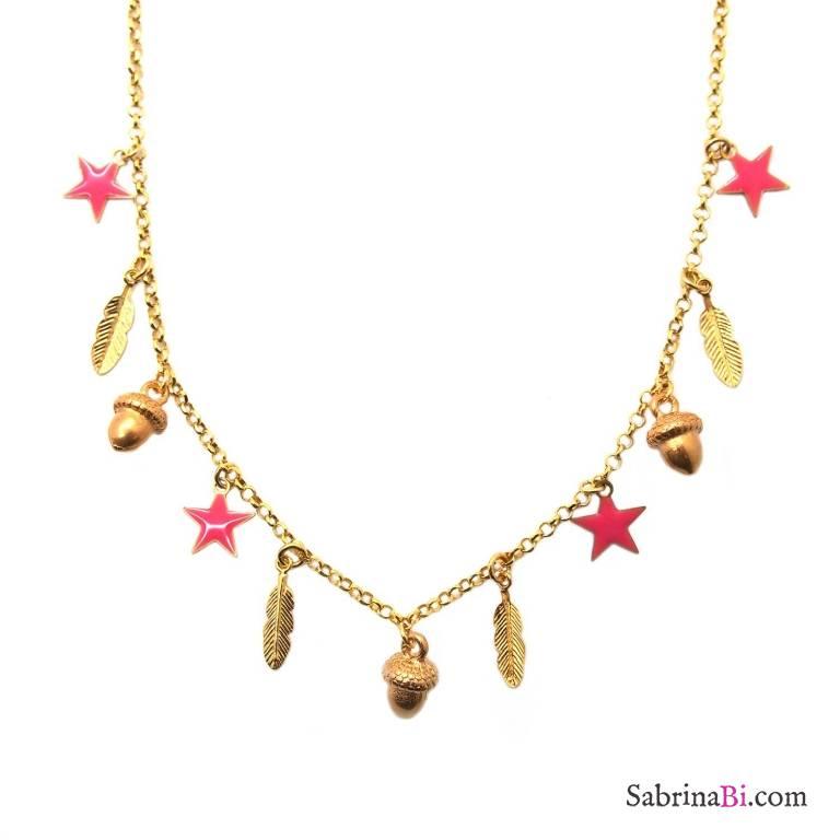 Collana argento 925 placcato oro Ghianda 11 Charms
