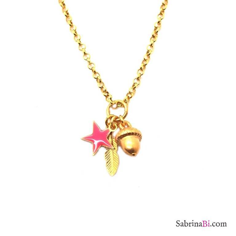 Collana argento 925 placcato oro Ghianda 3 Charms
