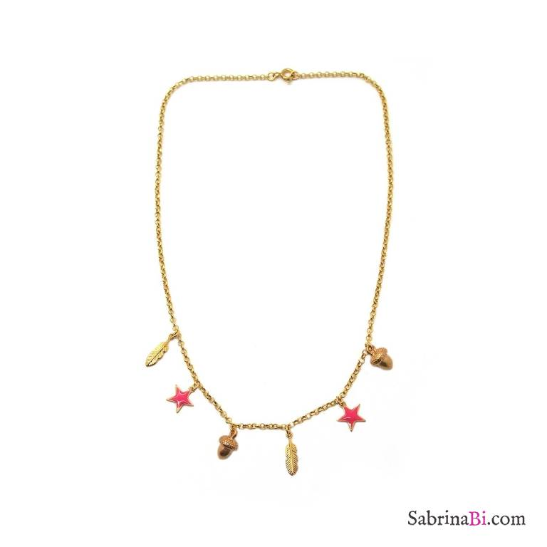 Collana argento 925 placcato oro Ghianda 6 Charms