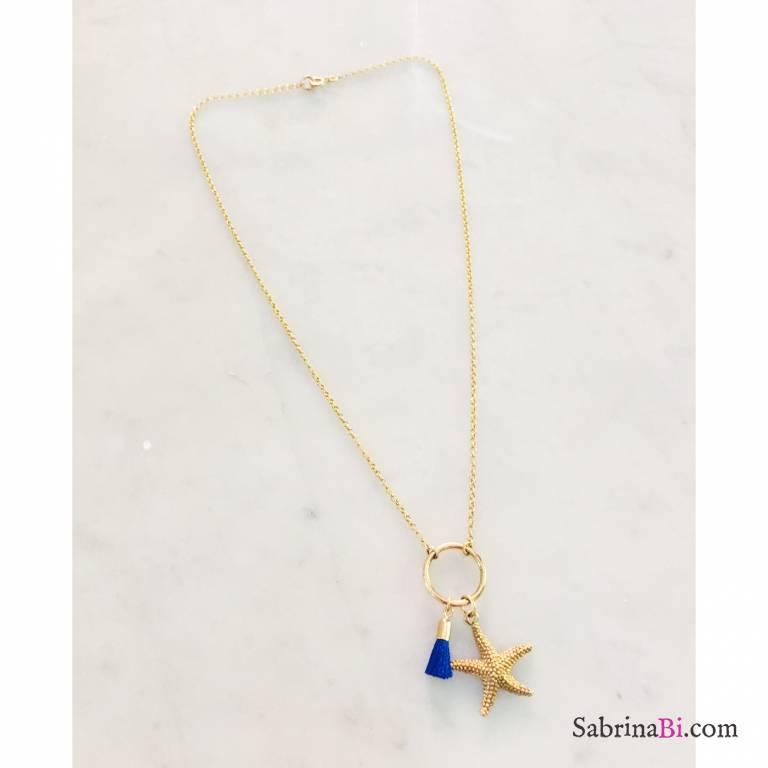 Collana argento 925 placcato oro stella marina e nappina