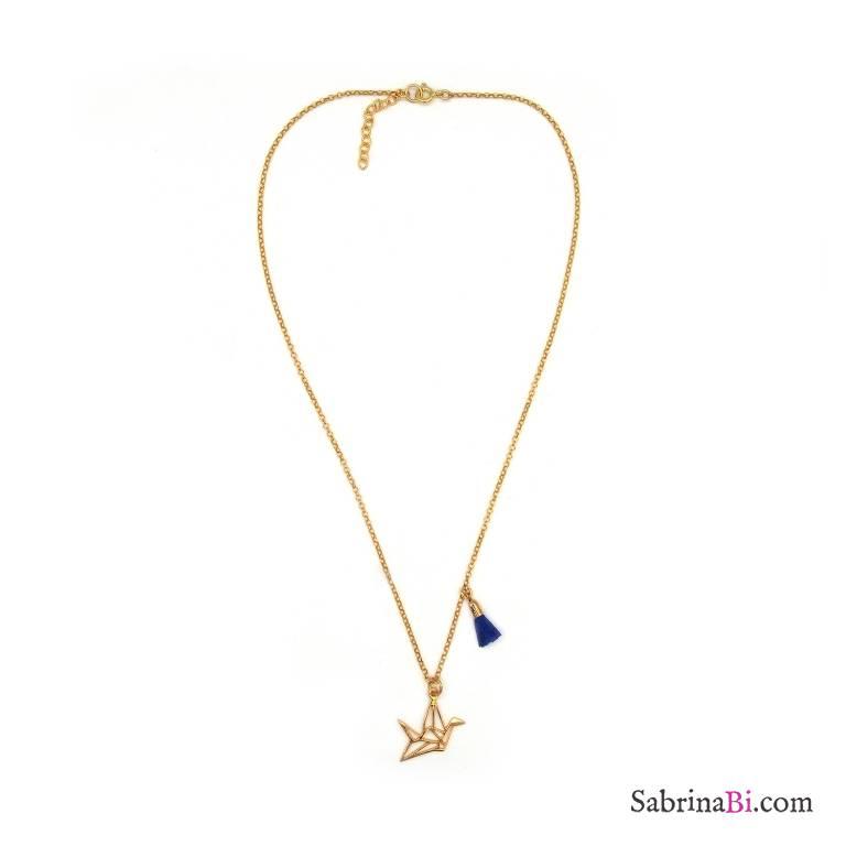 b17fef0dddd37 Origami crane bird and tassel gold plated sterling silver necklace